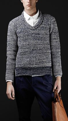 Deep indigo melange sweater by Burberry