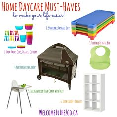 Space Guide Running a home daycare in your home is so different than working at a daycare center. There is limited space in your home, space that you don't want to be completely overrun with daycare stu… Home Daycare Rooms, Daycare Setup, Home Childcare, Daycare Design, Daycare Ideas, Kids Daycare, Daycare Organization, Daycare Spaces, School