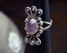 Mexican AMETHYST Silver Ring Unusual Petal by BazaarCollections, $42.00