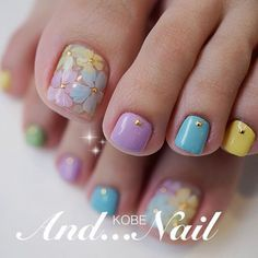 Look at these spring nail art Toe Nail Color, Toe Nail Art, Nail Colors, Nail Nail, Pretty Toe Nails, Cute Toe Nails, Pedicure Nail Art, Manicure And Pedicure, Toenail Art Designs