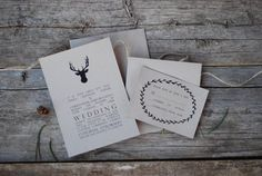 Antler Wedding Invitation Suite - Deer Buck Stag - Rustic Woodland Outdoor - Camping - Place Card * Thank You * Menu * Program