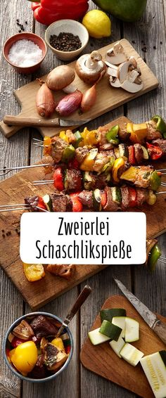 Zweierlei Schaschlikspieße #Schaschlik #Zwiebeln #Paprika #Grillspaß #grillen #Zucchini Kabobs, Skewers, Grill Dessert, Foil Packaging, Shish Kebab, Foil Pack Meals, Foil Packets, Food Truck, Barbecue