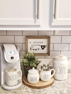 A whole latte loveCoffee Sign Coffee Bar sign Kitchen decor Rustic sign Rustic framed sign Coffee station Valentines day decor Home Coffee Area, Coffee Bar Home, Coffee Bar Signs, Coffee Bar Ideas, Coffee Shop, Coffe Bar, Coffe Corner, Coffee Lovers, Coffee Coffee