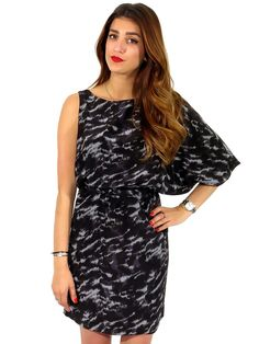 MICHAEL Michael Kors | One-Shoulder Printed Dress www.sabrinascloset.com