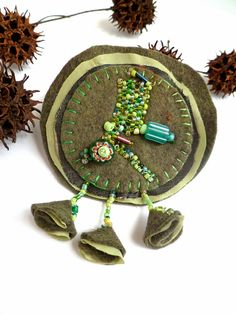 Green flower wearable fiber art green bead embroidery by Cesart64