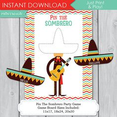 Pin the Sombrero Printable Party Game. A fun addition to your party - just print & play! Perfect for your Fiesta or Cinco de Mayo themed party THREE GAME POSTER SIZES INCLUDED: 11X17 18X24 20X30 You can find additional Fiesta themed party printables & invitations in my shop here: http://etsy.me/1Q5gvGT IMPORTANT NOTES BEFORE PURCHASE: >This is a digital file. You will receive no printed product. >You can print the Game Poster at a copy centre or photo lab. This file has the wording PIN…