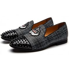 Black Grey Plaid Spikes Embroidered Mens Loafers Prom Dress Shoes, Material: Processed Leather and Canvas UpperWidth: Medium Black Loafers, Leather Loafers, Loafers Men, Prom Shoes, Kid Shoes, Shoes Men, Best Dress Shoes, Satin Shoes, Spikes