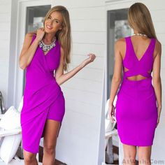 Wow~ Awesome good Purple Soild V-Neck Cross Backless Dress! It only $22.99 at…