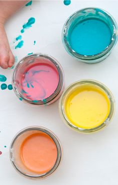 Make paint for kids that is taste-safe with this easy recipe! #babypaintingideas #babypaintrecipe #tastesafepaint #fingerpaintingideasforkids #growingajeweledrose Finger Painting For Kids, Baby Painting, How To Make Orange, How To Make Paint, Home Made Paint For Kids, Baby Art Activities, Edible Finger Paints, Washable Paint, Play Food