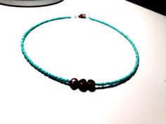 Copper Bead Necklace with Turquoise Seed Beads by illojewelry on Etsy