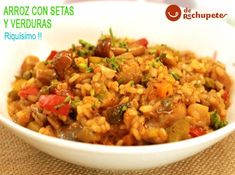 arroz con verduras y champiñones Fried Rice, Fries, Curry, Pasta, Ethnic Recipes, Food, Arrows, Lunches, Tasty