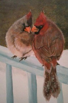 """""""Love in Winter"""" 8x10 on framed canvas cardinals From Corgi Nuts Pet Portraits"""