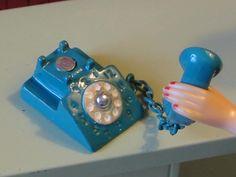 Barbie Phone Vintage Turquoise Rotary Telephone Miniature OOAK 1 6 Scale Metal | eBay