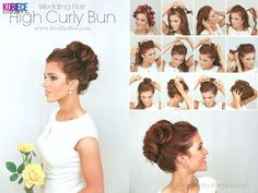 High curly bun #wedding hair. Alternate twisting hair back into pony tail clockwise and counterclockwise. Tie into pony and randomly pin loops of hair.