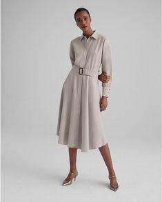 Curved Hem Shirtdress Jumpsuit Dress, Dress Up, High Neck Dress, Shirt Dress, Club Monaco, Modern Outfits, Stylish Outfits, Minimalist Wardrobe, Dress Outfits