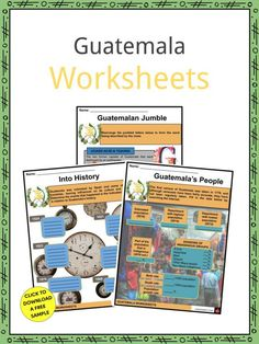 This is a fantastic bundle which includes everything you need to know about the Guatemala across 24 in-depth pages. These are ready-to-use Guatemala worksheets that are perfect for teaching students about the Guatemala, officially known as the Republic of Guatemala, which is a Central American country with a representative democracy government. It is Central America's most populous country with around 17.2 million people. Geography Worksheets, Social Studies Worksheets, Geography For Kids, Branches Of Government, Guatemala City, History For Kids, Facts For Kids, American Country, Flag Design