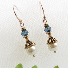 Blue Crystal Earrings / Gold Filled Pearl Drop by TuppersPerch