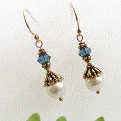 Blue Crystal Earrings / Gold Filled Pearl Drop by TuppersPerch