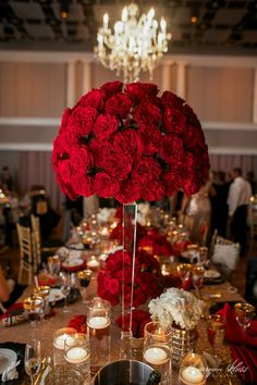 Tall red rose wedding centerpiece gold sequin linen sequin wedding decor, g Quince Decorations, Quinceanera Decorations, Quinceanera Party, Red Wedding Centerpieces, Red Wedding Decorations, Quince Centerpieces, Candy Centerpieces, Red Rose Wedding, Champagne And Red Wedding