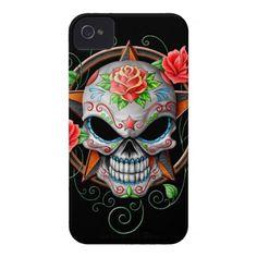 Sugar Skull Star, black iPhone 4 Case-Mate Case