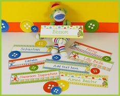 Sock Monkey Classroom Theme! There are four different designs (with or without the alphabet and numbers) included to offer you a variety.  $ www.ClassroomInspirations.com