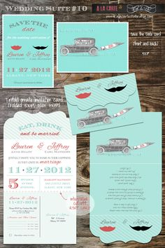 "By ""C' est la Vie Design Studio"" on Etsy.com, this wedding stationary package exemplifies vintage style and quirky taste. Props to its creators!"