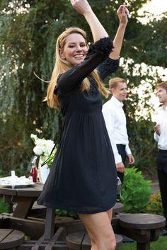 Black bridesmaids dresses are oh so chic! Chiffon dress, £98, Monsoon