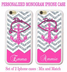 Personalized Pink Chevron Anchor BFF Best Friends Cases For iPhone X 8 7 6 SE 5S #UnbrandedGeneric