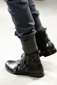 Handmade Men's Triple monk boot, Men black ankle leather boot, Men leather boot #Handmade #Monkboot