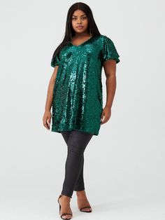 V By Very Curve Short Sleeve Sequin Tunic - Green, Multi, Size Women - Print - 28 Sequin Tunic, Short Sleeves, Short Sleeve Dresses, High Leg Boots, Long Toes, Curves, Sequins, Tunic Tops