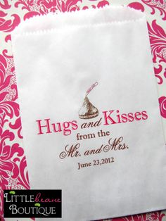 Wedding Candy Bags Hugs and Kisses from the by LittlebeaneBoutique, $19.75