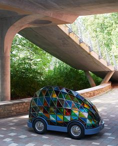 """Dominic Wilcox's """"car of the future"""" is driverless and made of stained glass Stained-glass driverless car Sleeper by Dominic Wilcox"""