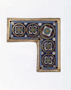 Enamel plaque | Champleve and cloisonne enamel on copper- gilt | Width: 3.5 in, Height: 3.5 in | ca. 1180-1200 AD