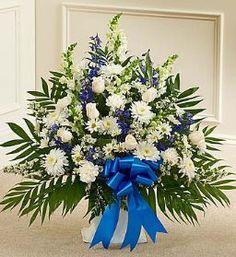 Tribute Blue & White Floor Basket Arrangement