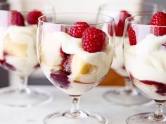 Raspberry Trifle with Rum Sauce recipe from Sandra Lee via Food Network