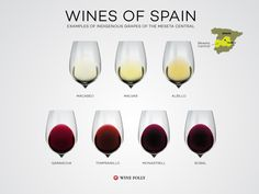 "[infographic] ""Wines of Spain: Examples of indigenous grapes of the Meseta Central"" Sep-2014 by Winefolly.com"