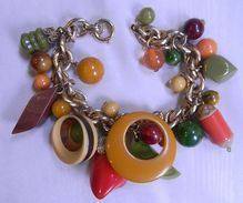 Vintage Bakelite Charm Bracelet ~ Love the colours of bakelite!