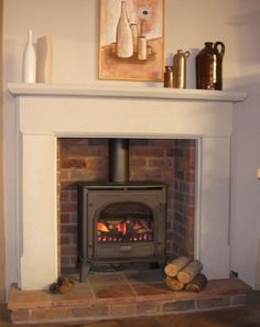 35 Ideas For Wood Burning Stove Fireplace Fire Surround Mantles Wood Burner Fireplace, Home Fireplace, Fireplace Surrounds, Fireplace Ideas, Wooden Fireplace Surround, Wooden Mantle, Brick Fireplaces, Cottage Fireplace, Stone Fireplace Pictures