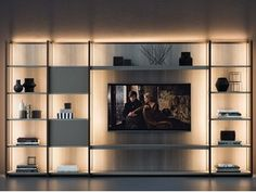CONTINUUM Storage wall by Natevo design . Wall Unit Designs, Tv Wall Design, Tv Unit Design, House Design, Living Room Wall Units, Living Room Designs, Home Decor Furniture, Furniture Design, Muebles Living
