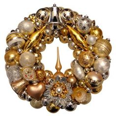 Check out this item at One Kings Lane! Gold Holiday Ornament Wreath