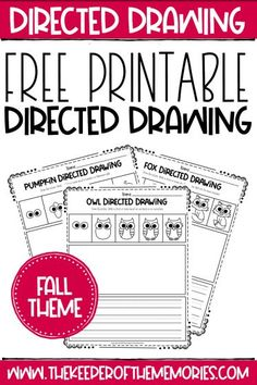 These Free Printable Fall Directed Drawing printables are perfect for developing listening skills and engaging kids in distance learning this year. Download yours today! #fall #printables #directeddrawing #art #writing #copywork #drawing #creativewriting Sensory Activities Toddlers, Kids Learning Activities, Creative Activities, Teaching Kids, Preschool Printables, Free Printables, Preschool Worksheets, Printable Worksheets, Pre Writing