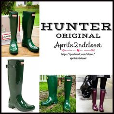 """HUNTER ORIGINAL RAIN BOOTS NEW WITH TAGS RETAIL PRICE: $150  HUNTER ORIGINAL RAIN BOOTS Tour Gloss Tall Boots  * Buckle ankle straps  * Quick dry nylon lining & cushioned footbed  * Flexible rubber sole w/1"""" heel & 1/2"""" platform   * Pull on style  * Approx 15 3/4"""" shaft & 15"""" opening  * Easily rolled for packing Color: Hunter Green  Fabric: Waterproof rubber upper & sole Item:HU912500 No Trades ✅ Offers Considered*✅ *Please use the blue 'offer' button to submit an offer. Hunter Boots Shoes…"""