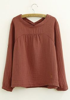Dark Red Anchor Embroidery Loose Cotton Blend Blouse