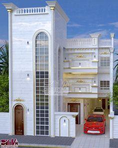 """شركة الديوان للتصاميم الهندسية on Instagram: """"#دار سكني ثلاث طوابق بدرج خارجي  الارضي ديوان 15*7 مع مطبخ وصحيات وكراج 4 سيارات  الطابق الاول والثاني #بيت متكامل  المهندس المعماري…"""" Home Fashion, Mansions, House Styles, Home Decor, Decoration Home, Manor Houses, Room Decor, Villas, Mansion"""