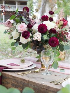 and blush compote bowl arrangements with dahlias, garden roses, peonies. -Burgundy and blush compote bowl arrangements with dahlias, garden roses, peonies. Blush Centerpiece, Flower Centerpieces, Wedding Centerpieces, Wedding Table, Wedding Decorations, Space Wedding, Wedding Rustic, Garden Wedding, Wedding Cakes