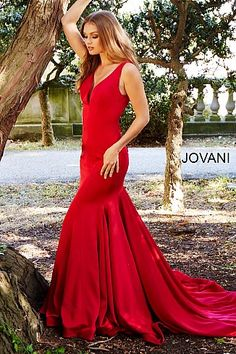 18fa8c765c Red V Neck Fitted Jersey Prom Dress 59300  Jovani  RedPromDress  Prom2018 V  Neck