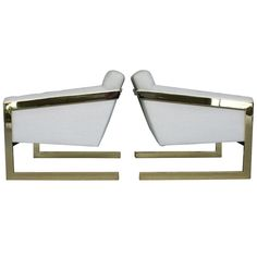 Pair of brass framed and tufted cantilevered lounge chairs by Milo Baughman for Thayer Coggin c1970's
