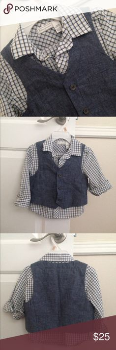 HP! First Impressions Baby boy shirt with a vest NWOT. 100% cotton First Impressions Matching Sets