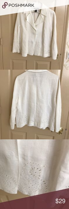 🆕🌺DKNY Summer cream white Linen jacket Lovely fine linen exterior and silk lining for comfort. 2snap closure. Lovely lace effect detailing.3/4 length sleeves.One small thin stain on back of one sleeve. Maybe the cleaner missed it? Rest is fine. DKNY Jackets & Coats