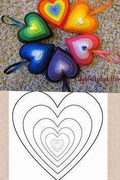 ARTE COM QUIANE - Paps,Moldes,E.V.A,Feltro,Costuras,Fofuchas 3D: Pingente de coração de feltro #molde